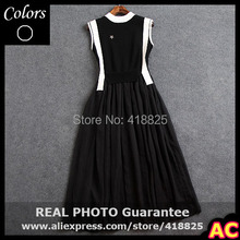 2015 spring summer designer women's dresses black white patchwork top white collar side mid calf  fashion casual brand dress(China (Mainland))
