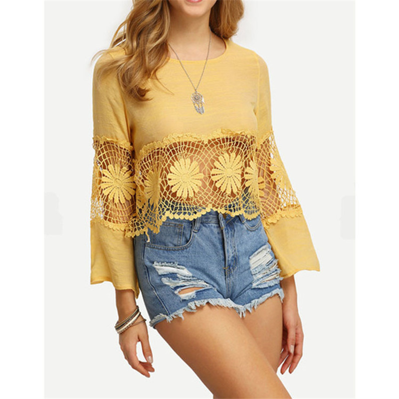 Women Sexy Hollow Out Shirts 2016 Summer Beach Tshirt Ladies Elegant Lace Flower Tops Shirts Hollow Out Flare Sleeve Tops S/XL(China (Mainland))