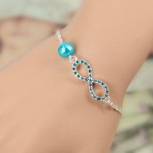 2014 Best Bridesmaid gift  Infinity bracelet new  Fashion Heart Rhinestone Imitation Pearl Silver Plated Bracelet  IB431-IB436(China (Mainland))