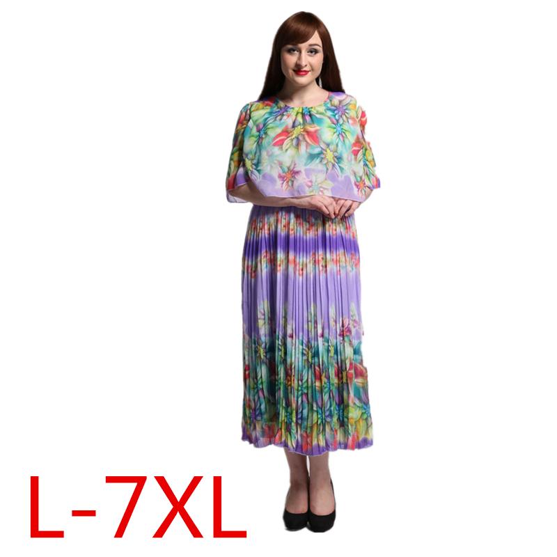 2016 Womens Summer Print Beach Chiffon Dress Big Sizes Elegant Pleated Maxi Long Dresses Plus Size 6XL 7XL Vestidos 9023(China (Mainland))