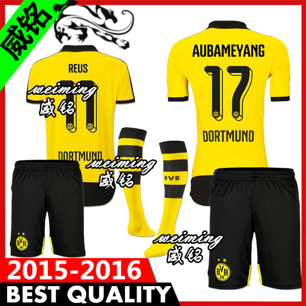 Borussia Dortmund 2015 bvb home yellow soccer jerseys uniform kit 15 16 Marco reus gundogan hummels aubameyang mkhitaryan ramos(China (Mainland))