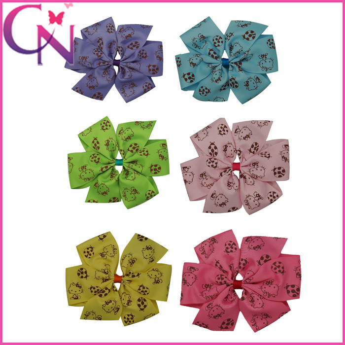 Free Shipping 5PC/lot Grosgrain Ribbon Hair Bow With Clip,Boutique Hair Accessories For Baby,Pinwheel Hair Bows With Hello Kitty(China (Mainland))