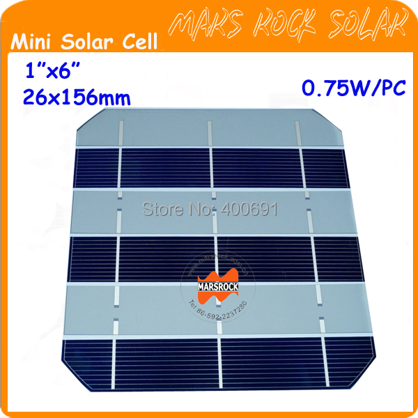 "300pcs 0.75W 26x156mm 1""x6"" 3BB small Monocrystalline Solar Cell for DIY solar panel highest efficiency A grade free shipping(China (Mainland))"