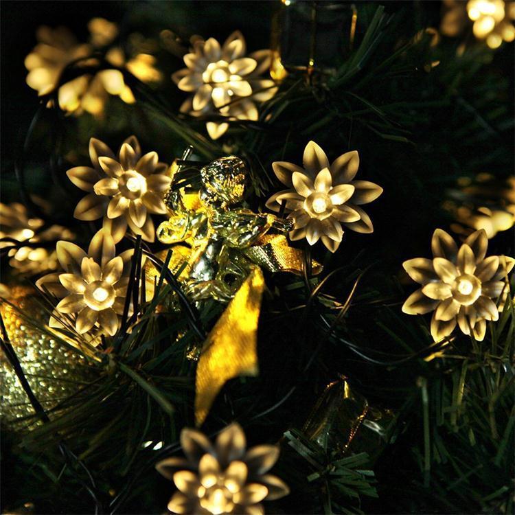 free shipping 30LED Solar Lamp Light Control Lotus Flowers String Lights Holiday Lights Christmas Decoration String Light(China (Mainland))