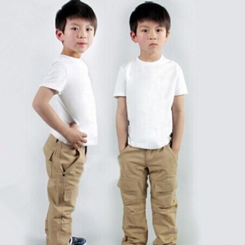 Children's tshirt summer 2015 plain kids t shirt short-sleeve white black baby child blank top newborn tees cotton 0-14 years(China (Mainland))