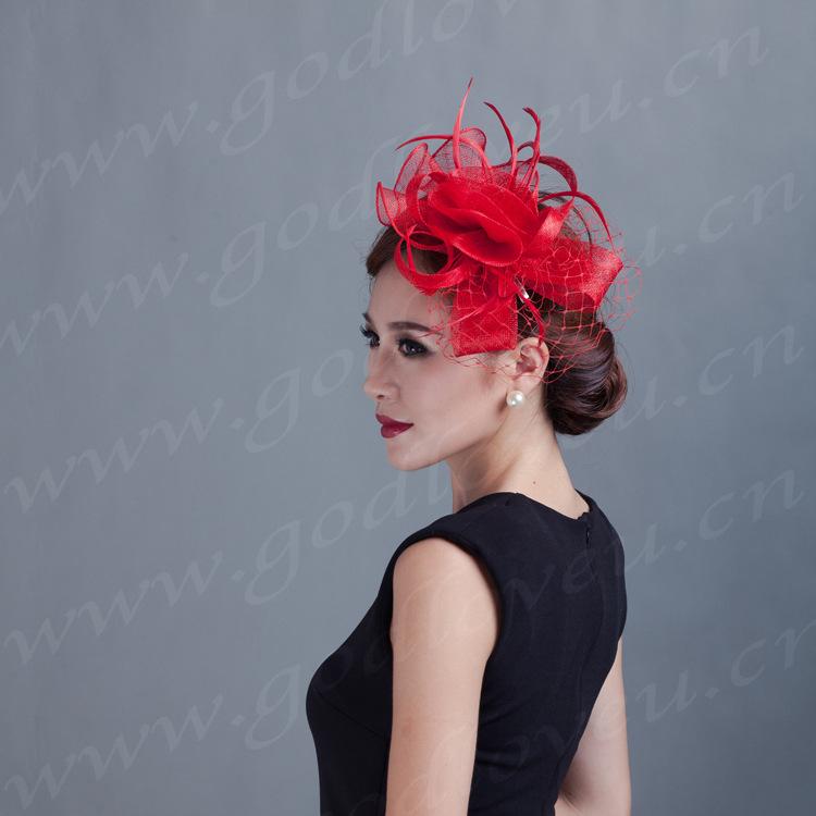 women red,ivory flowers Fascinator feather ladies sinamay hat hair Clip wedding party fascinators handmade Vintage headwear(China (Mainland))