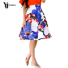 Yj мода 2016 старинных высокая талия женщины цветочный принт миди юбка весна лето платье-линии ну вечеринку юбки Faldas американский одежды