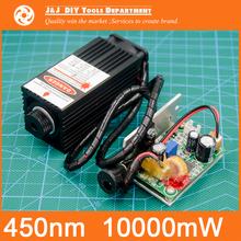 450 nm, 10000 mW 12V High Power Laser Module have TTL,Adjustable Focus Blue Laser module. DIY Laser engraver accessories.