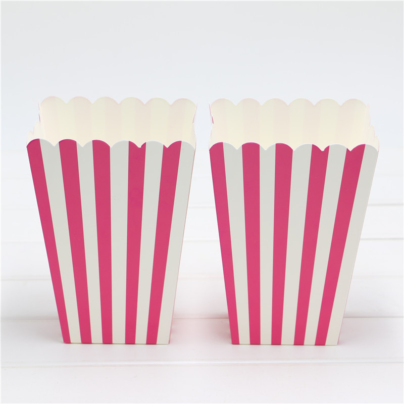 1Bag 10pcs pink popcorn Boxes/Buckets/Bags (Pink Stripes)(Party/Food/Retro/Hollywood/Movie/Treat)Birthday Party Favour Paper Bag(China (Mainland))