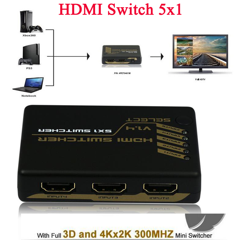 5 Port HDMI switch Switcher Splitter Box Converter 5X1 with IR remote control 4kx2k 3D 300MHz support HDMI 1.4V HDCP Dolby<br><br>Aliexpress