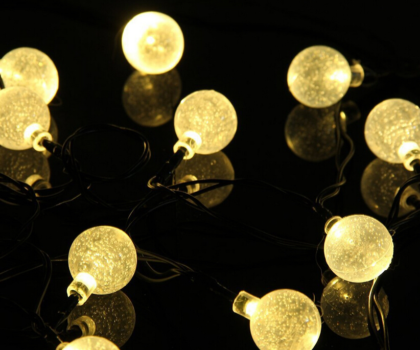lampe solaire led string bubble ball christmas garland. Black Bedroom Furniture Sets. Home Design Ideas