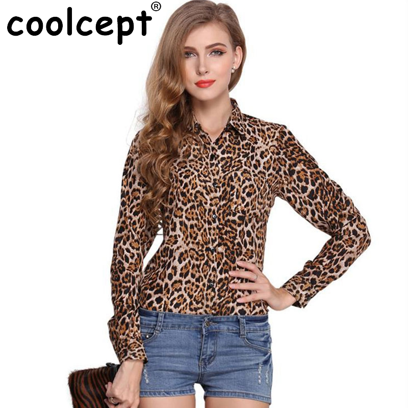 New Spring Style Women Sexy Korean Tops Lapel Long Sleeves Print Leopard Single Breasted Loose Straight Chiffon Bottoming Shirt(China (Mainland))