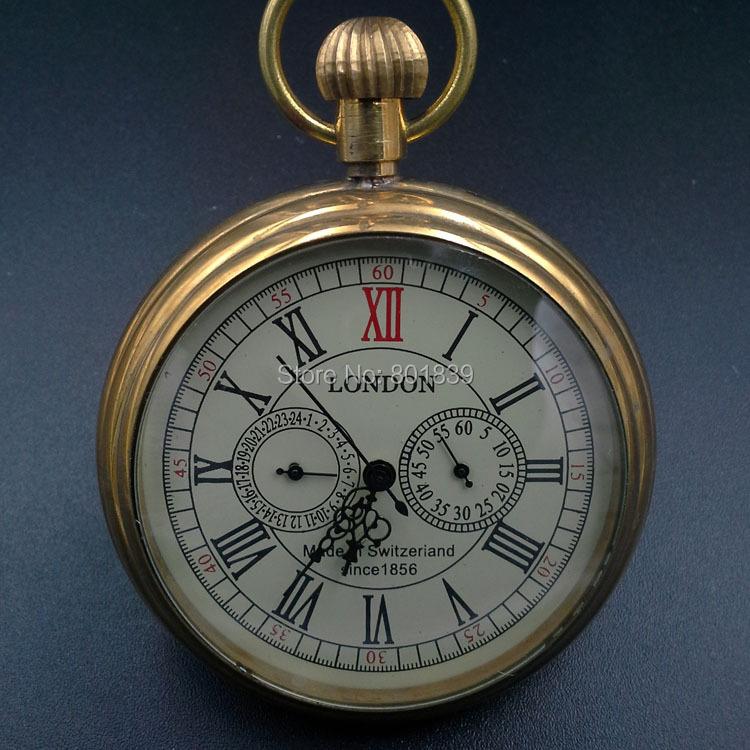 1856 cooper 3 dials skeleton wind up mechanical mens