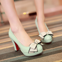 Big size 34-43 vintage style woman small bowtie platform women's pumps lady's sexy high heels shoes woman(China (Mainland))