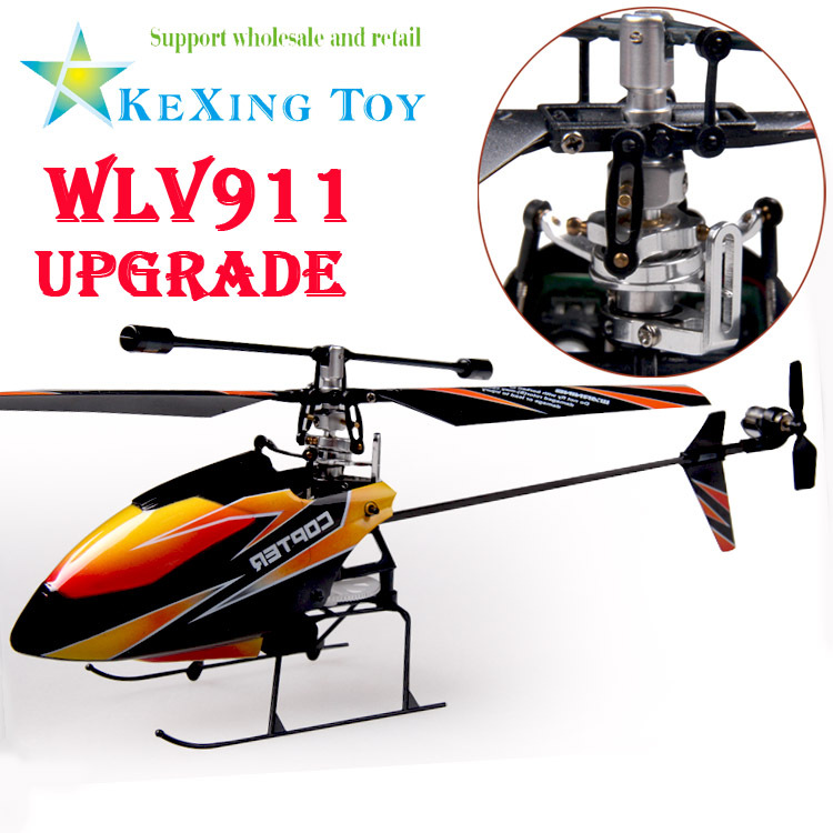/ WLV911 toys, upgrade CNC alloy metal device V911 2.4G Stone single blade RC Mini Helicopter Gyro outdoor two batteries