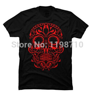 Day of the dead skull custom men 39 s t shirt free shipping for Custom t shirts one day delivery