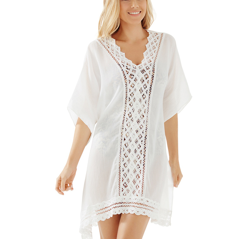 2016 Summer style Beach Cover up Lace Tunic Swimsuit Cover Up Women Beachwear Chiffon Bathing Suit Cover-Ups(China (Mainland))