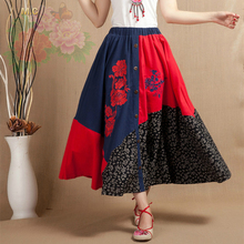 Linen cotton national trend skirts women plus size elastic waist embroidery skirts Chinese style mid-calf skirts summer xzw0601
