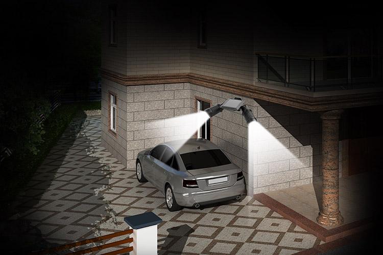 Купить Водонепроницаемый Dual Head LED Солнечная ПИР Активированный Безопасности Света Прожектор Прожектор Регулируемый