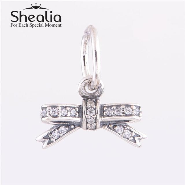 2014 новый проложить циркония бантом болтаться очарование подвески аутентичные серебряные ювелирные изделия 925 подходит известный бренд подвески браслеты