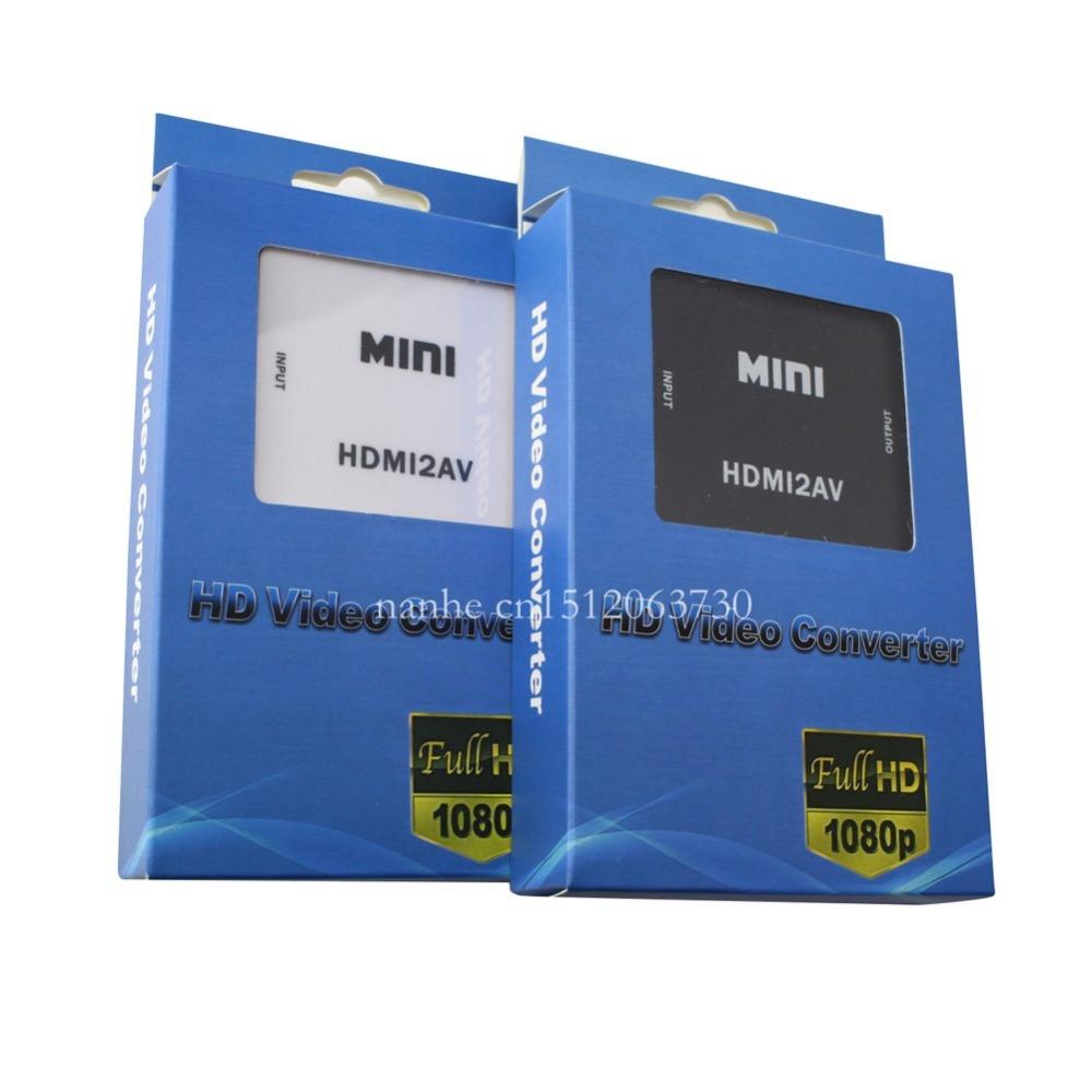 Mini HD Video Converter Box HDMI to RCA AV/CVSB L/R Video 480P 720P 1080P HDMI2AV Support NTSC PAL Output HDMI TO AV Adapter(China (Mainland))