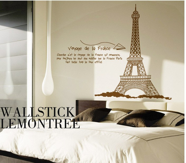 R tro paris tour eiffel stickers muraux enfant de l 39 amour - Decoration chambre theme paris ...