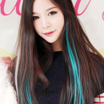 hot sale avril same colorful wig piece highlights hair