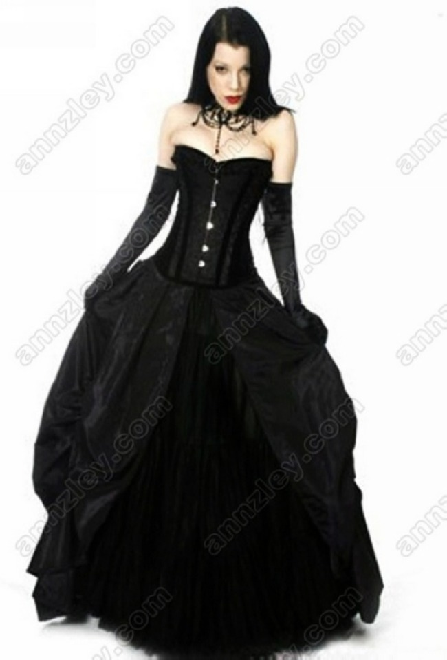Womens sexy vintage lace corset long black prom dresses for Vintage gothic wedding dresses