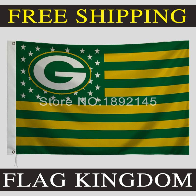 150 x 90 cm National Football League flag banner NFL blag star stripe Green Bay Packers flag banner(China (Mainland))