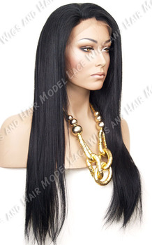 YAki Straight  1b# Natural looking lace front wigs Layered 10-22'' synthetic in stock full length lace wig 1 1b 2 4