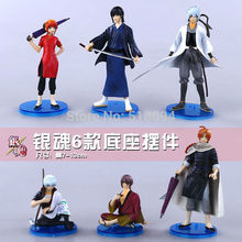 Free Shipping Anime Cartoon Silver Soul Sakata Gintoki Kagura Katsura Kotarou PVC Action Figure Toys 6pcs/set SSFG020