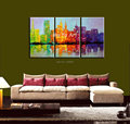 Abstract 3 piece canvas wall art colorful handmade modern textured oil painting on canvas for living