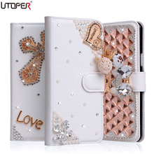 SONY Xperia E5 Case Wallet Stand Flip PU Leather Sony F3311 F3313 Diamond Handmade Bling Cover Phone Bags - UTOPER Official Store store