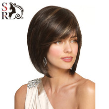 1PC Women Short Bobo Wig Straight Synthetic Wigs Highlighted Kanekalon Fiber For Black White European Jewish Kosher U Part Wig(China (Mainland))