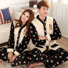 Factory price ! Russia warm winter overalls couple pajamas winter clothes for women ,flannel men's jacket home wear sleepwear (China (Mainland))