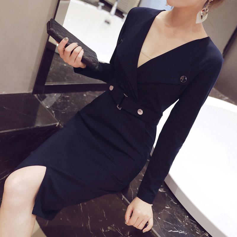 New Women's Work Dress Spring 2017 Fashion Professional Long-sleeve V-neck Slim Package Hip Bottom Dress Business Wear Female(China (Mainland))