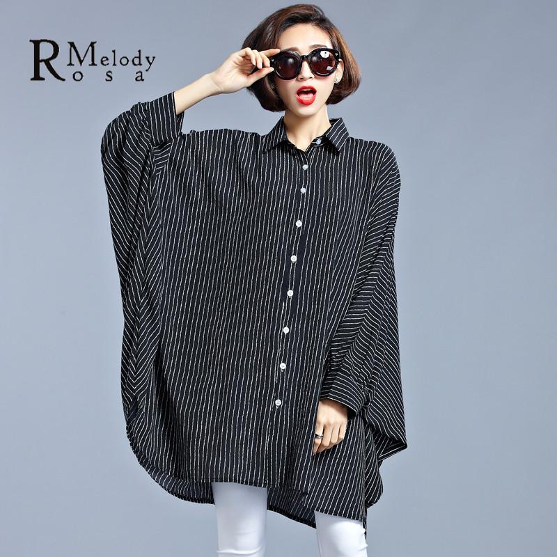 2016 Spring Plus Size Women Clothing European Style Striped Vertical Stripes Fashion Black Blouse for Women(R.Melody SY0039)