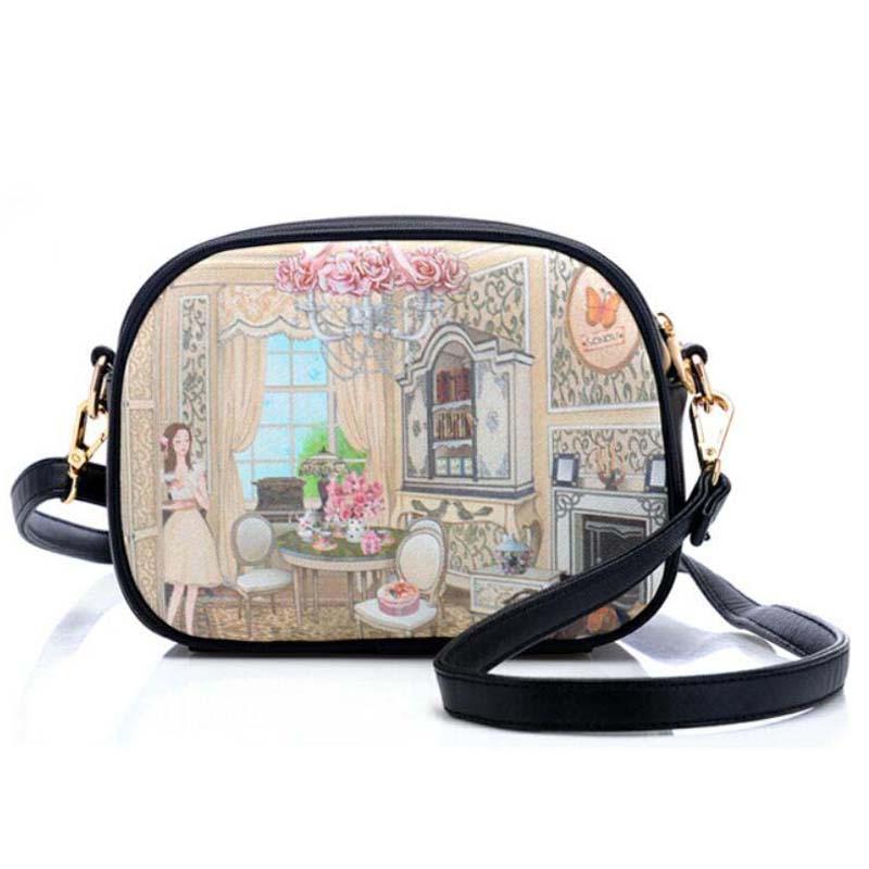 Brand Printed Vintage Handbag PU Leather Womens Mini Tote Bags Female Crossbody Bags For Women Handbag CX044(China (Mainland))
