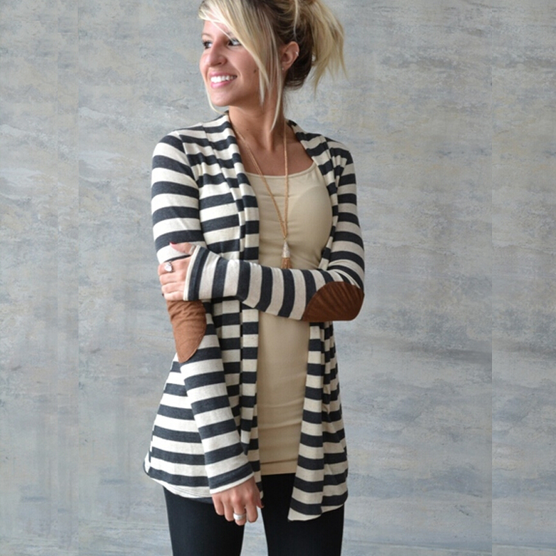 2015 autumn Brand Striped Women Cardigan Long Sleeve elbow patchwork knitted stripes Cotton cardigan Thin Jumper Long women Tops(China (Mainland))