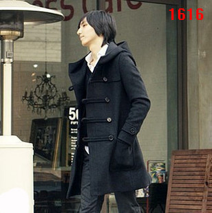 free shipping hot sale 2012 New style mens woolen overcoat,male casual hooded double breasted wool coat,SIZE:M/L/XL s1346Одежда и ак�е��уары<br><br><br>Aliexpress