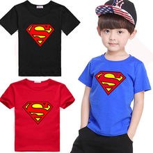 2015 New Kids Boys Superman Shirts Short Sleeve Cotton Children Costume Clothing