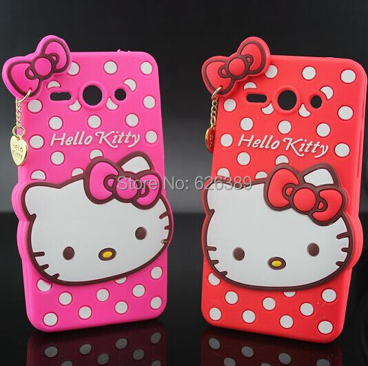 Hot Selling Polka Dot Hello Kitty Silicone Mobile Phone Bags Case Cover For Huawei Ascend Y530(China (Mainland))