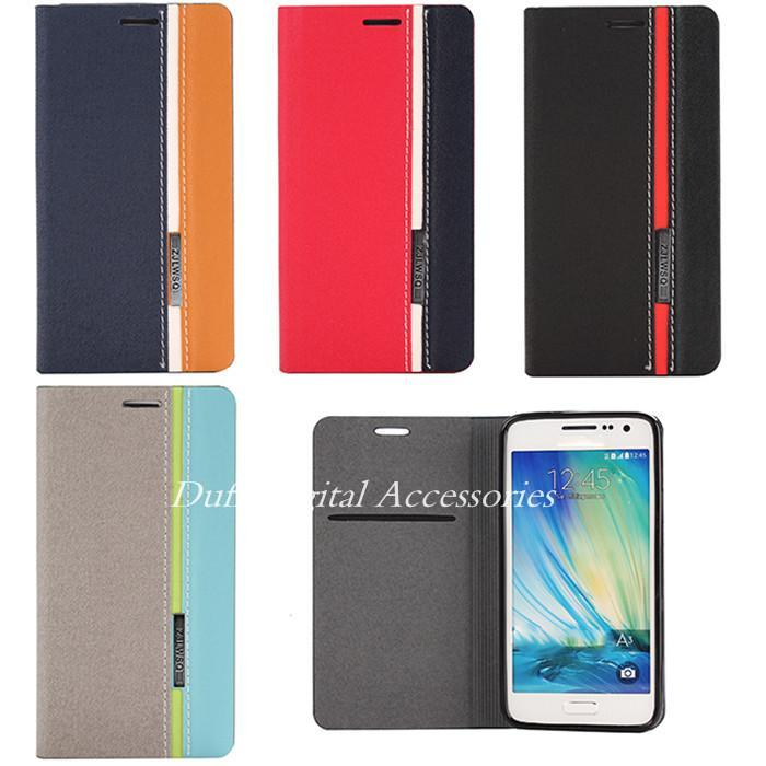Samsung Galaxy A3 A3000 Hybird 3 Colors Straps Fundas Coque Capa Business Card Slots Stand Flip Phone Cases Cover Protective - HongKong NOHON International Co.,Ltd store