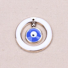 10pcs/lot  26.5*26.5mm Gold Round Evil Eye Beads Lucky Jewelry Findings Charm Pendants for DIY Bracelet Necklace(China (Mainland))