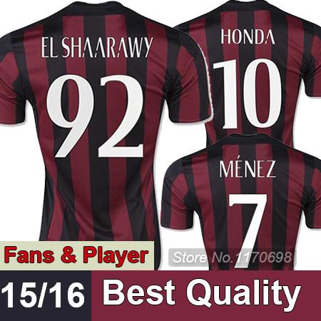 NEW 15/16 AC Milan Jersey Top quality AC MILAN Home/Away Soccer uniform 2016 HONDA EL SHAARAWY Football Shirts(China (Mainland))