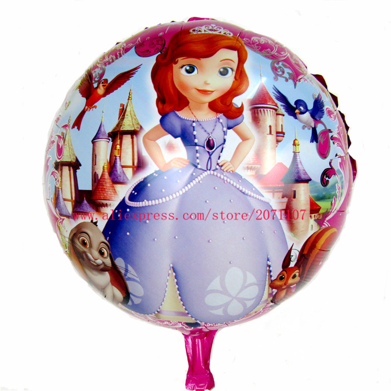 Lucky 30pcs/lot 18inch Round Princess Sofia Foil Balloons Inflatable Cartoon Helium Balloon For Wedding Party Decoration Globos(China (Mainland))