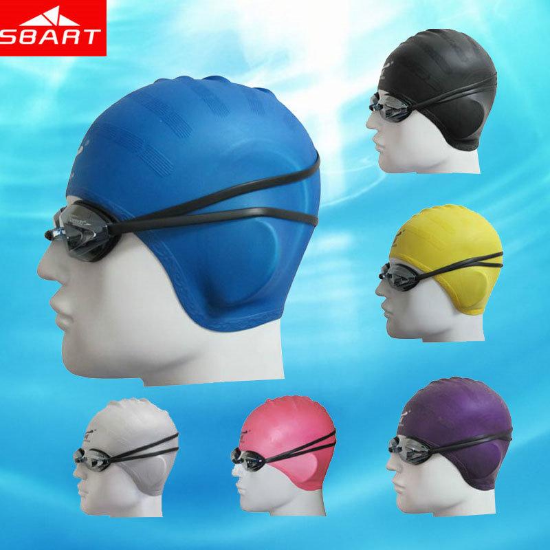 SBART Silicone Swimming Cap Women Waterproof Swimming Caps For Long Hair Gorro Natacion Head To Swim Cap Ear Protect Brand 2015(China (Mainland))