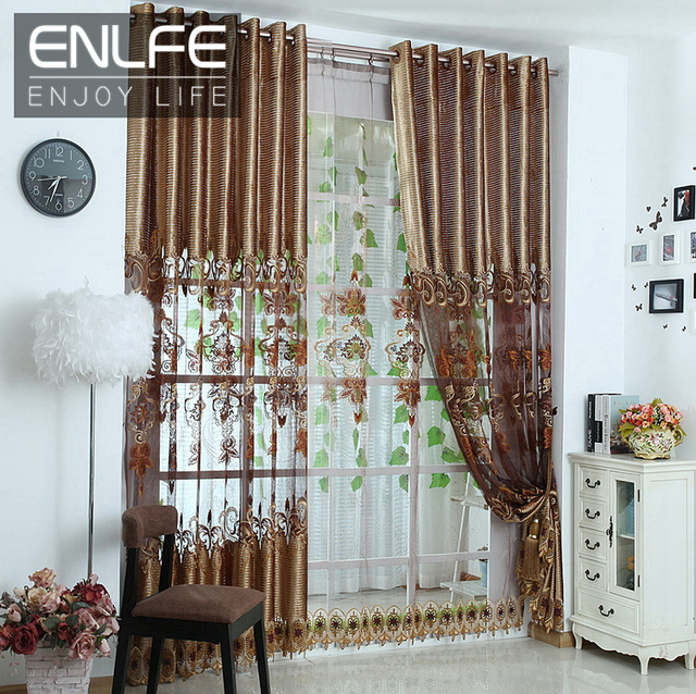 curtains valance set cloth curtain voile curtain for living room gold