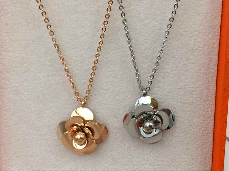 2016 Fashion Luxury Brand Stainless Steel Camellia Flower Pendant Necklace Carter Love necklace Women Gift(China (Mainland))