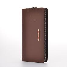 Famous Brand Men Wallets Genuine Leather Bag Male Purse Double Zipper Men Clutch Bags Luxury Natural Cowhide Wallet